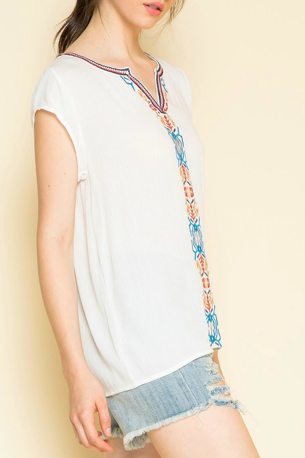 THML Clothing Embroidered Cap Sleeve Top - Back Cropped Image