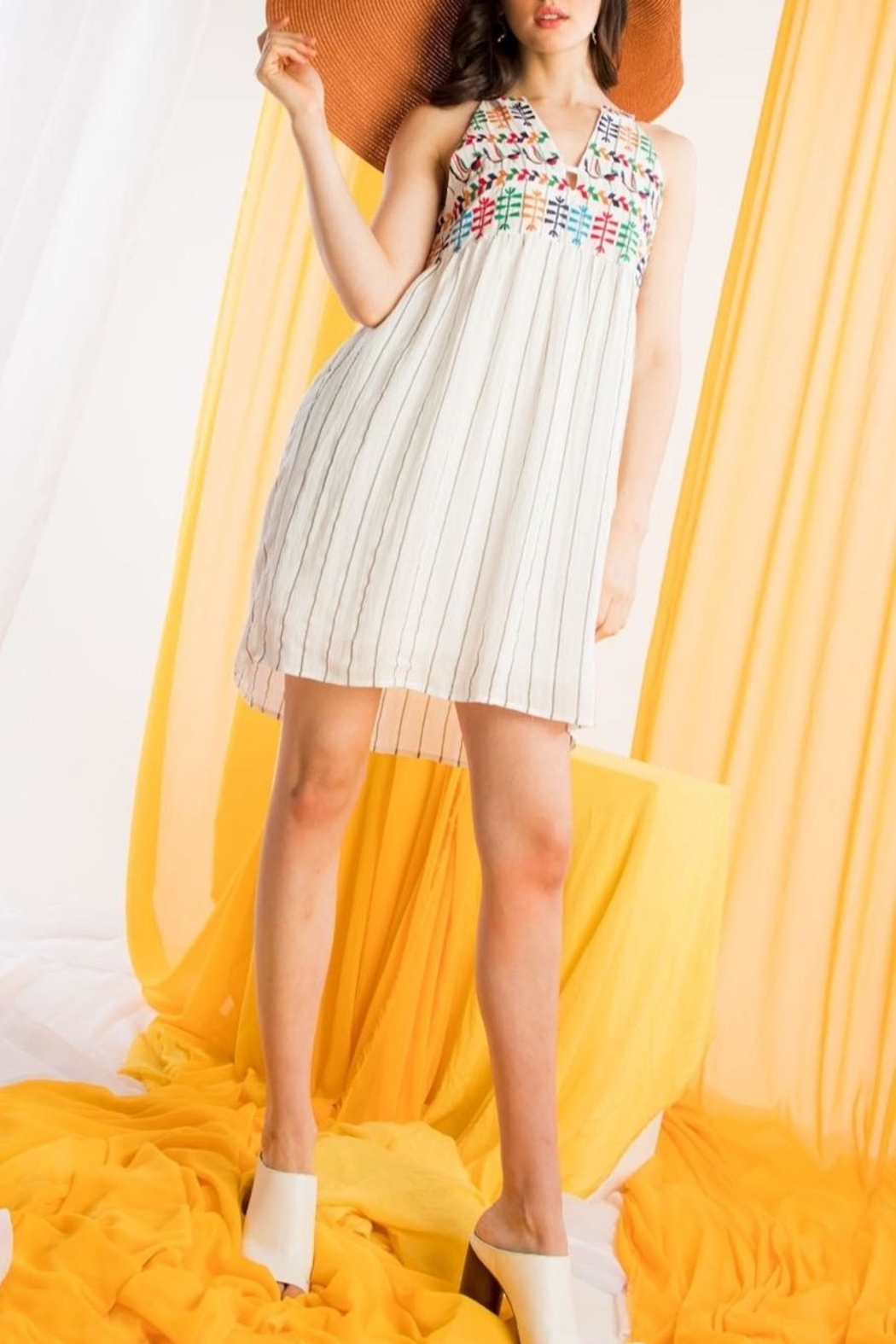 THML Clothing Embroidered Halter Dress - Main Image