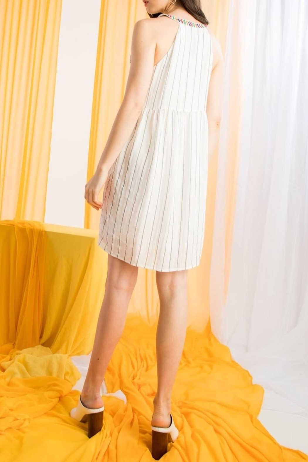 THML Clothing Embroidered Halter Dress - Side Cropped Image