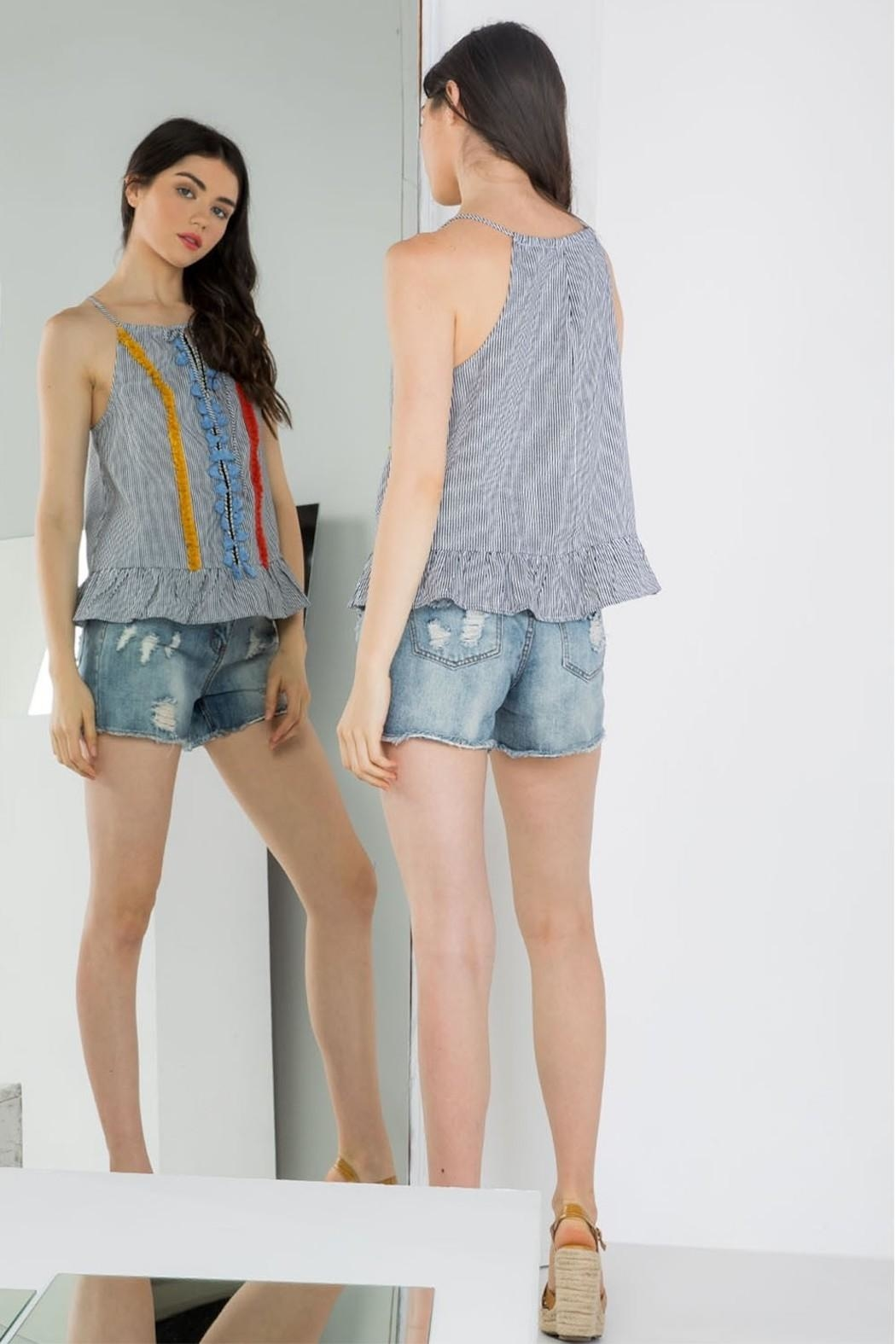 THML Clothing Embroidered Peplum Tank - Side Cropped Image