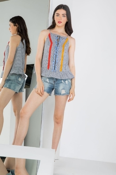 THML Clothing Embroidered Peplum Tank - Product List Image