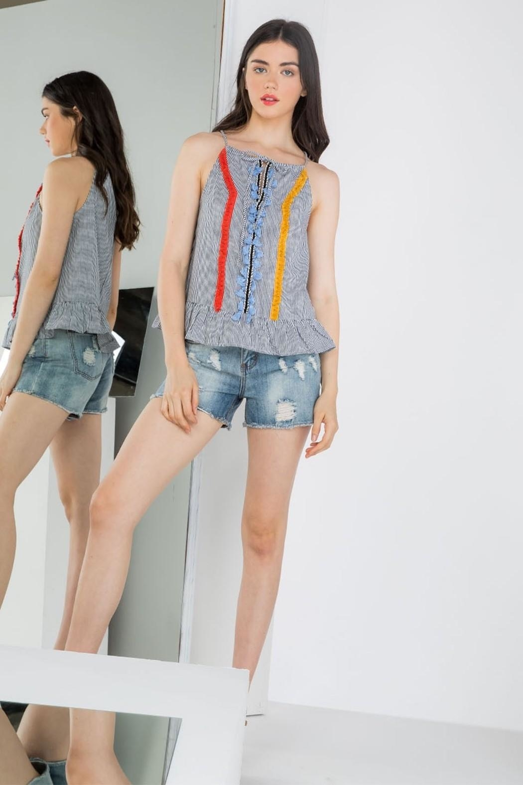 THML Clothing Embroidered Peplum Tank - Main Image