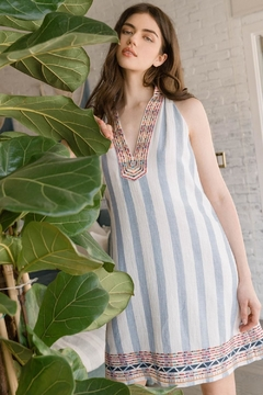 THML Clothing Embroidered Striped Dress - Alternate List Image