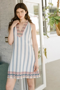 THML Clothing Embroidered Striped Dress - Product List Image