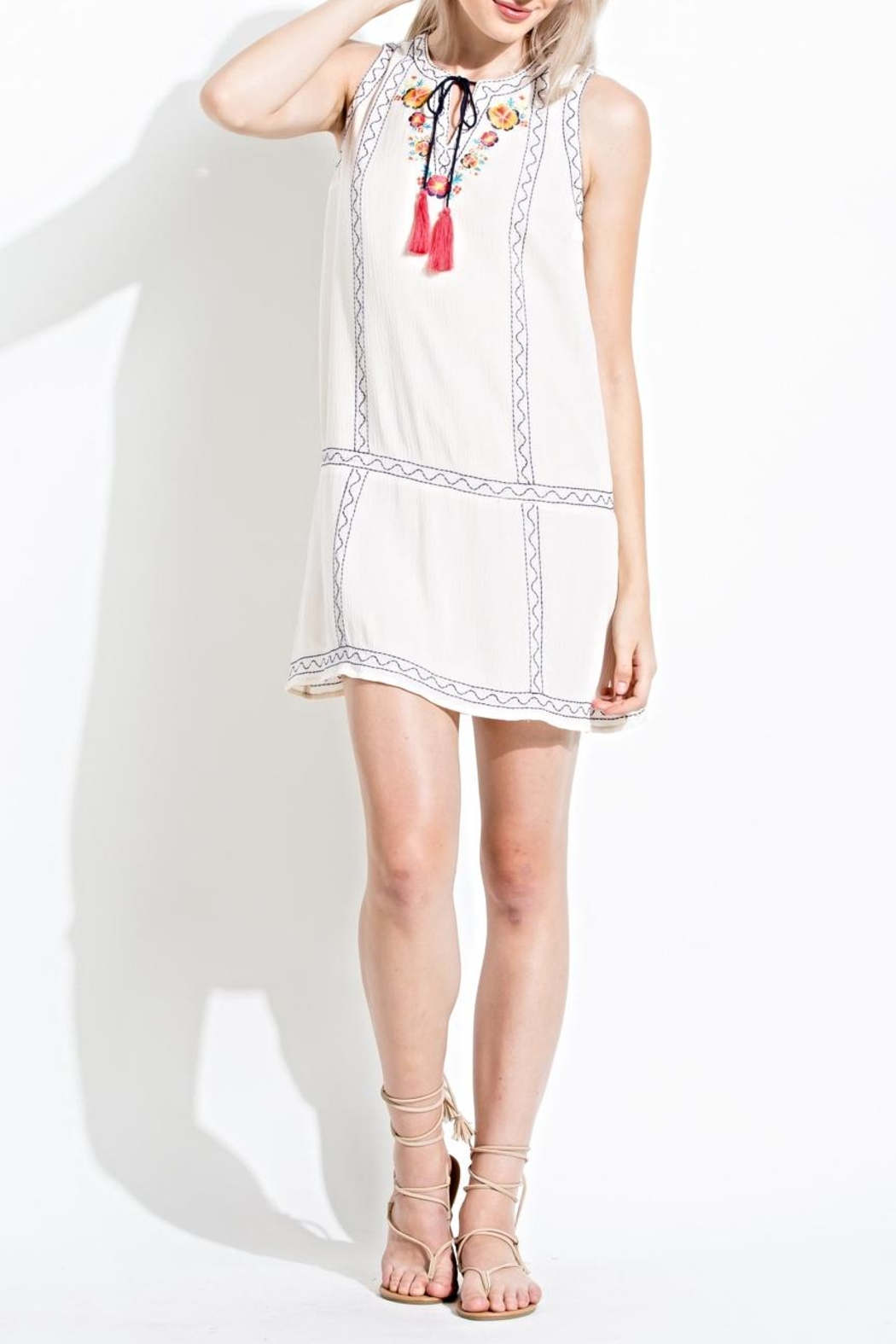 THML Clothing Embroidered Sun Dress - Main Image