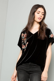 THML Clothing Embroidered Velvet Top - Front cropped