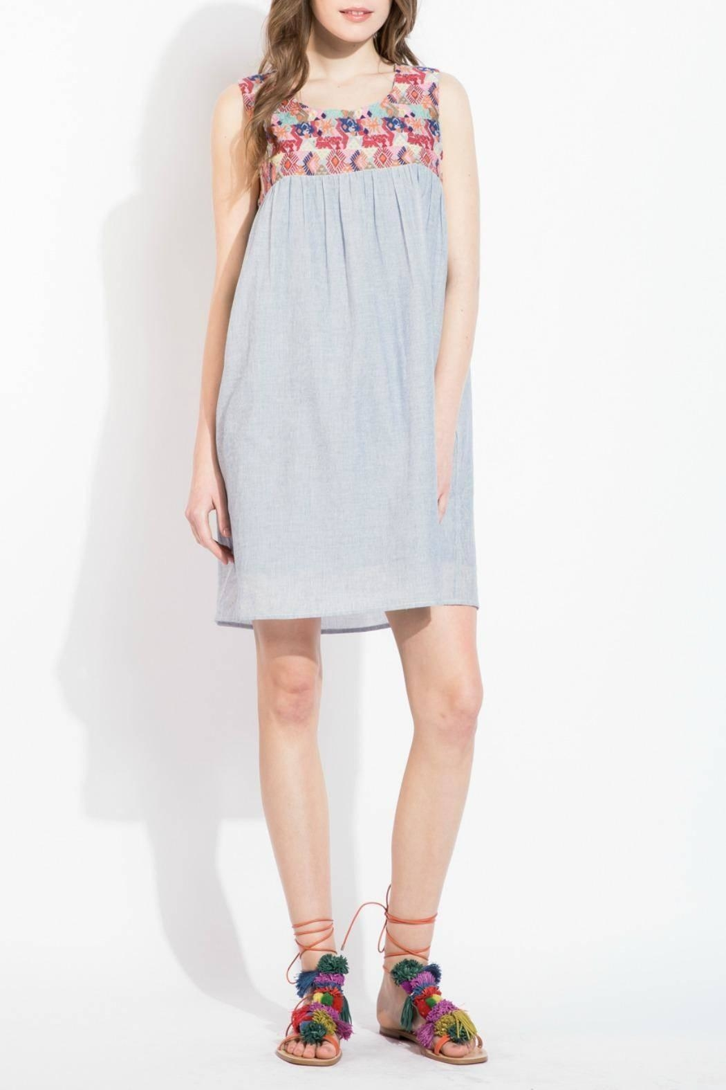THML Clothing Embroidered Yoke Dress - Front Cropped Image