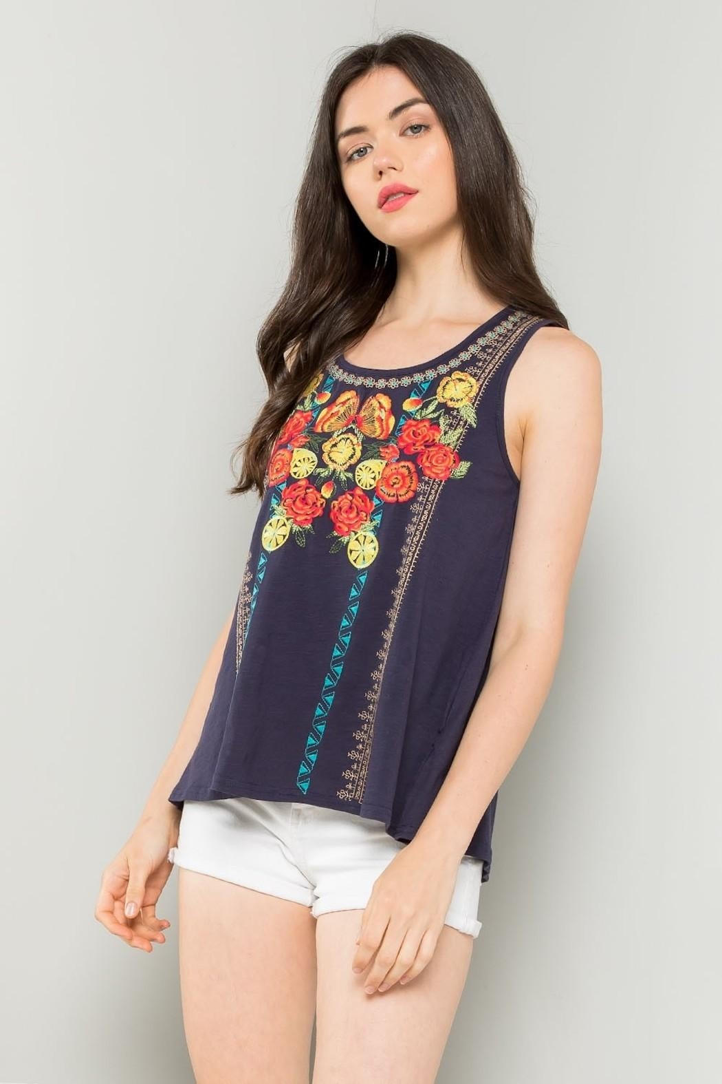 THML Clothing Floral Embroidered Tank - Main Image