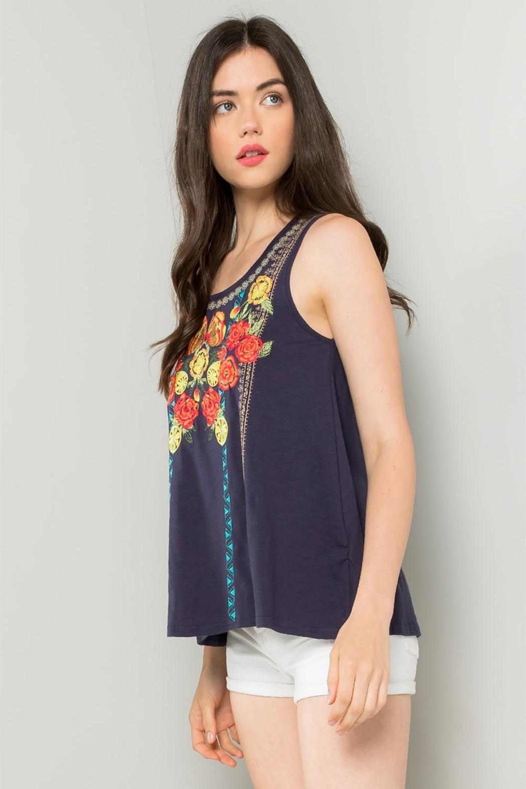 THML Clothing Floral Embroidered Tank - Back Cropped Image