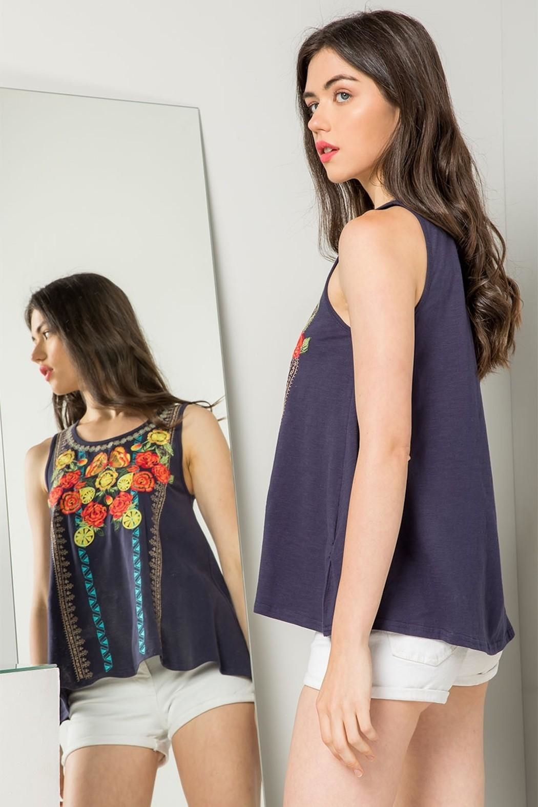 THML Clothing Floral Embroidered Tank - Front Full Image