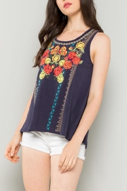 THML Clothing Floral Embroidered Tank - Front cropped