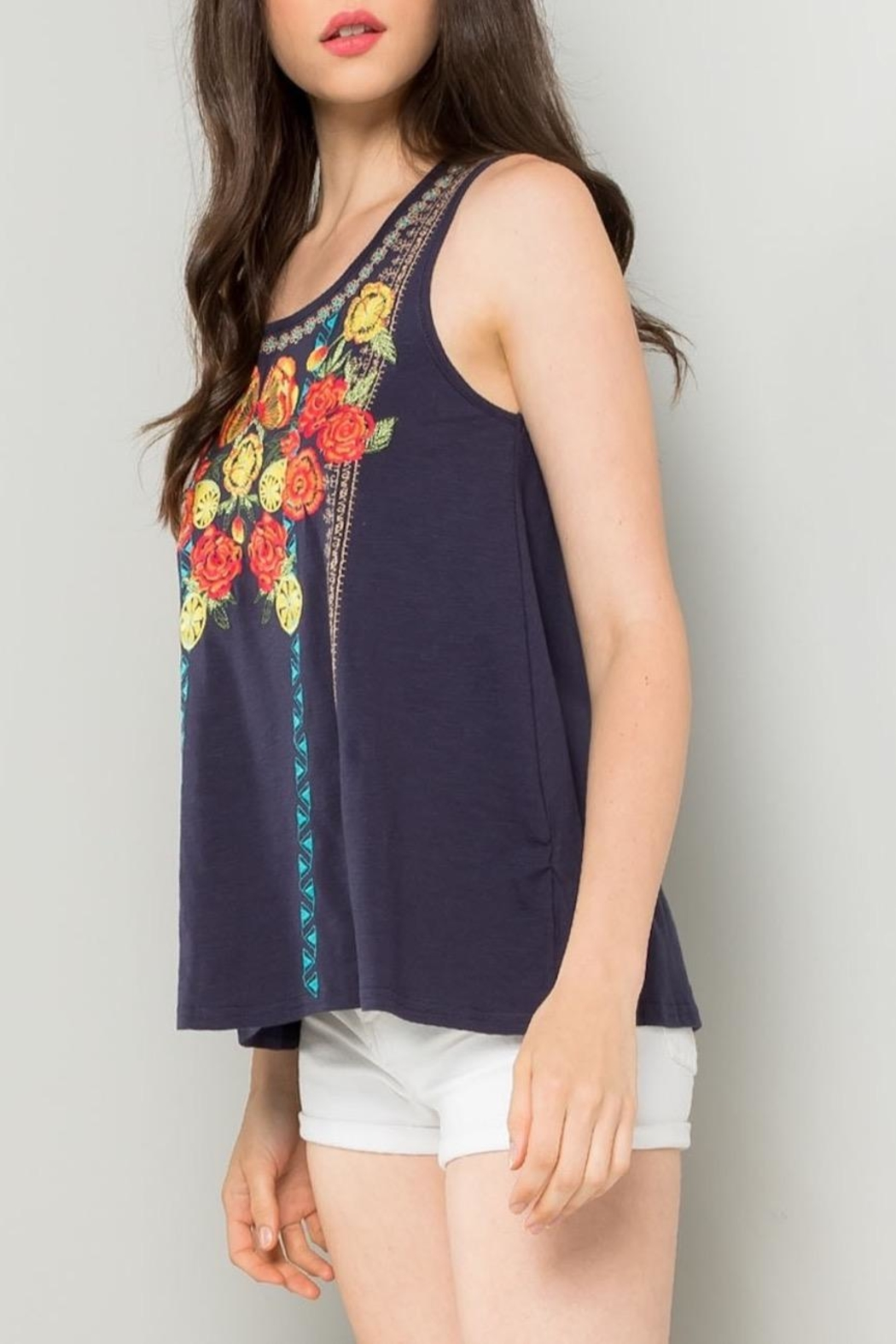 THML Clothing Floral Embroidered Tank - Side Cropped Image