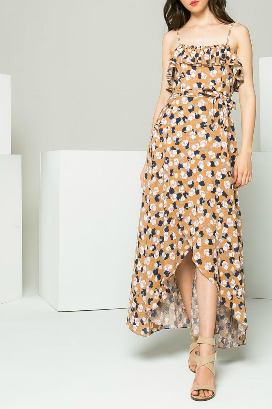 THML Clothing Floral Hi-Low Maxi - Back Cropped Image