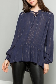 THML Clothing Gold Ruffle Top - Product Mini Image