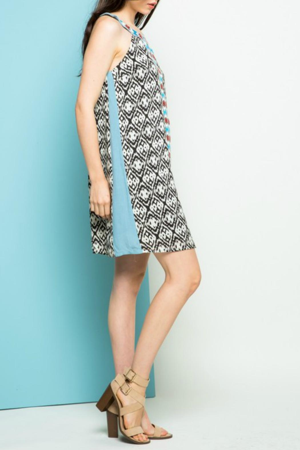 THML Clothing Halter Embroidered Dress - Back Cropped Image