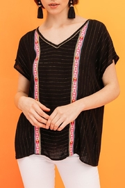 THML Clothing Metallic Pinstripe Top - Front cropped