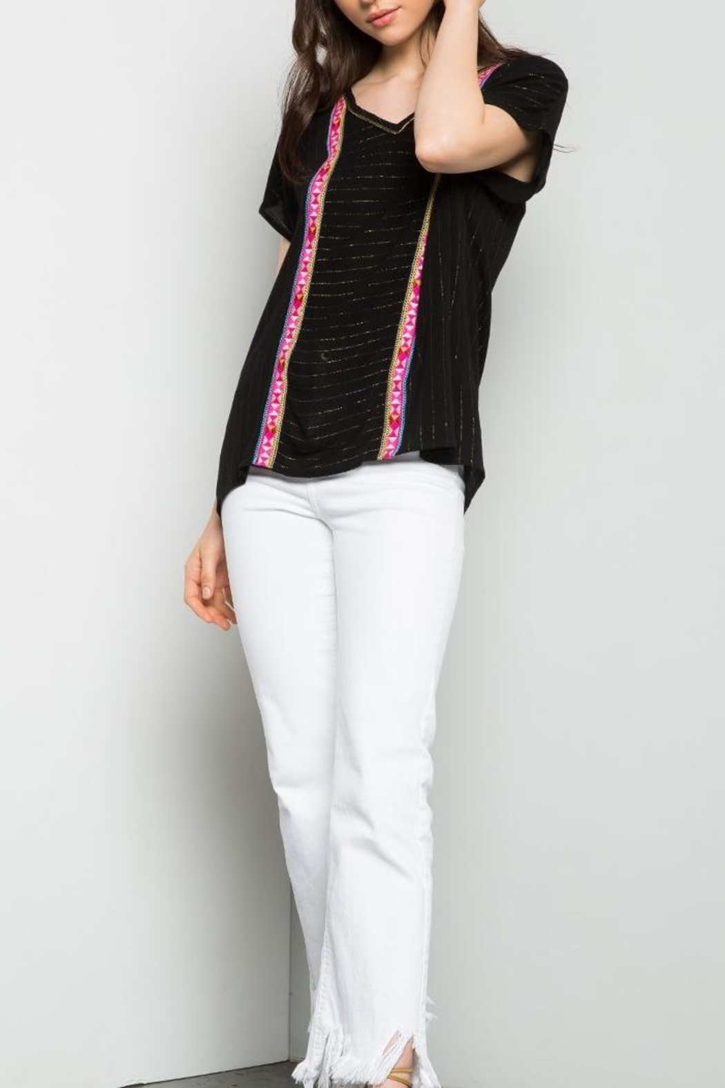 THML Clothing Metallic Pinstripe Top - Side Cropped Image