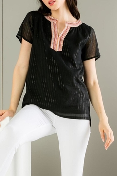 THML Clothing Metallic Stripes Top - Product List Image