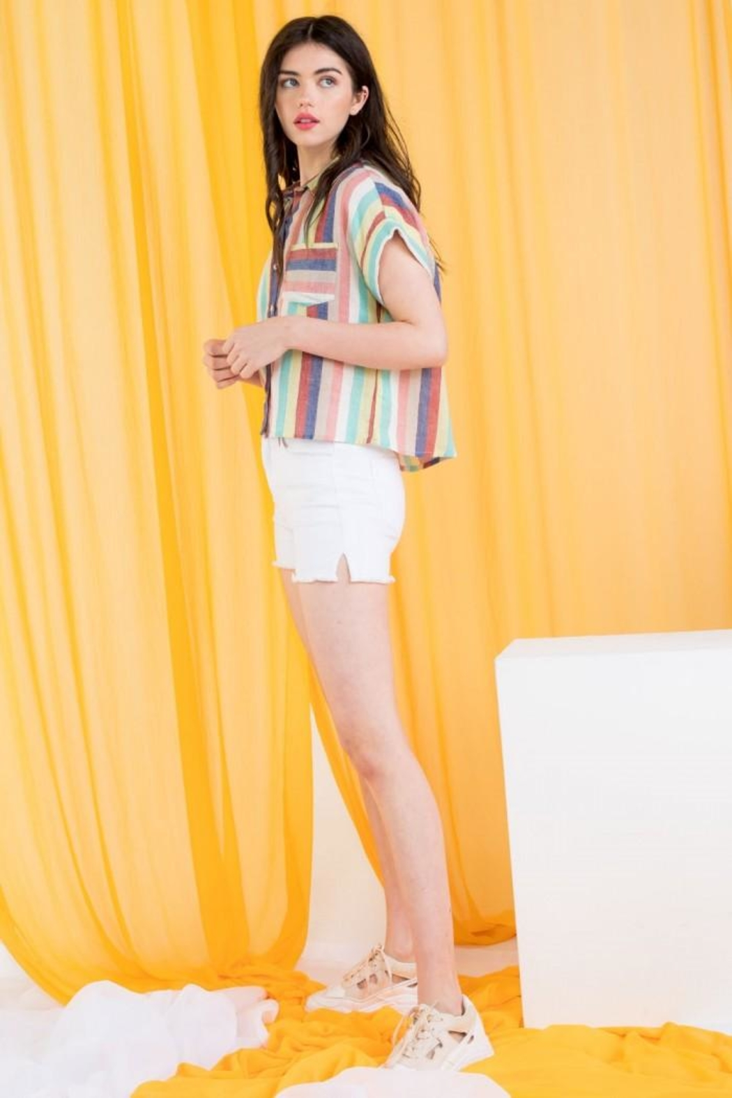 THML Clothing Multicolored Striped Shirt - Side Cropped Image