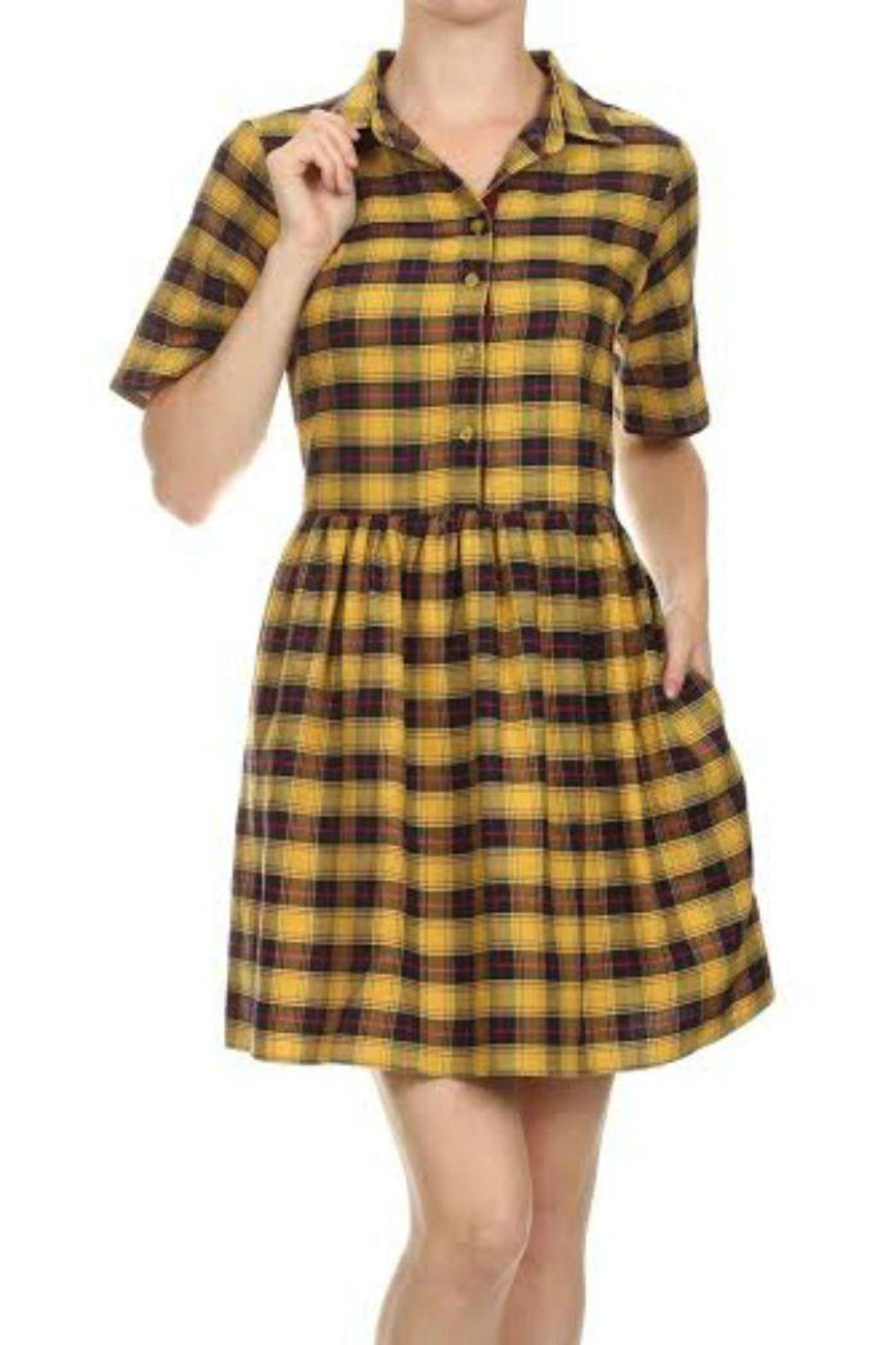 THML Clothing Mustard Plaid Dress - Main Image