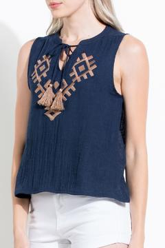 Shoptiques Product: Navy Embroidered Top