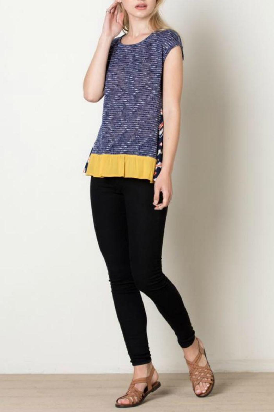 THML Clothing Navy Tribal Top - Front Full Image