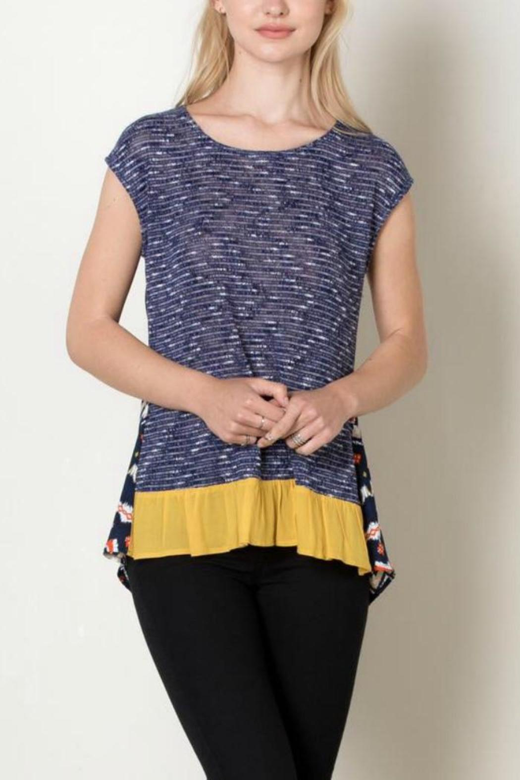 THML Clothing Navy Tribal Top - Main Image