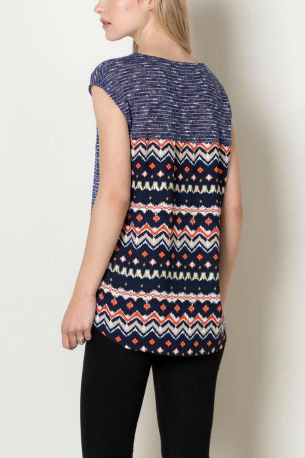 THML Clothing Navy Tribal Top - Side Cropped Image