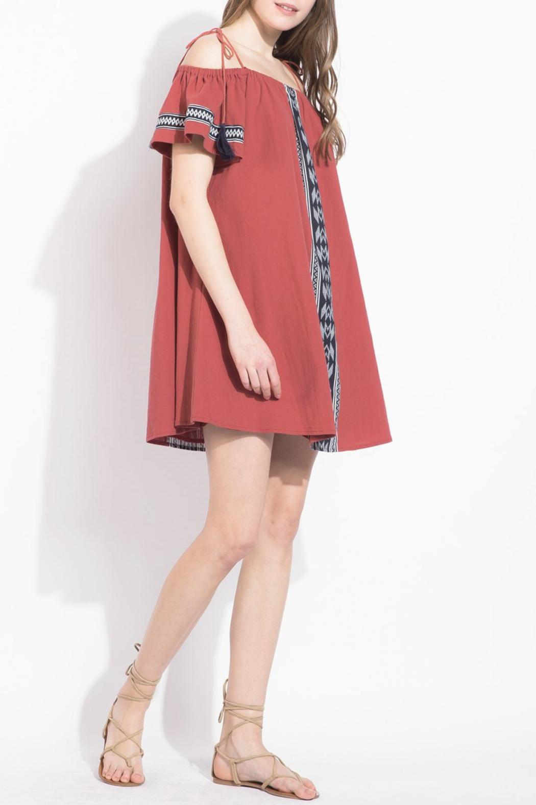 THML Clothing Red Off-Shoulder Dress - Front Full Image