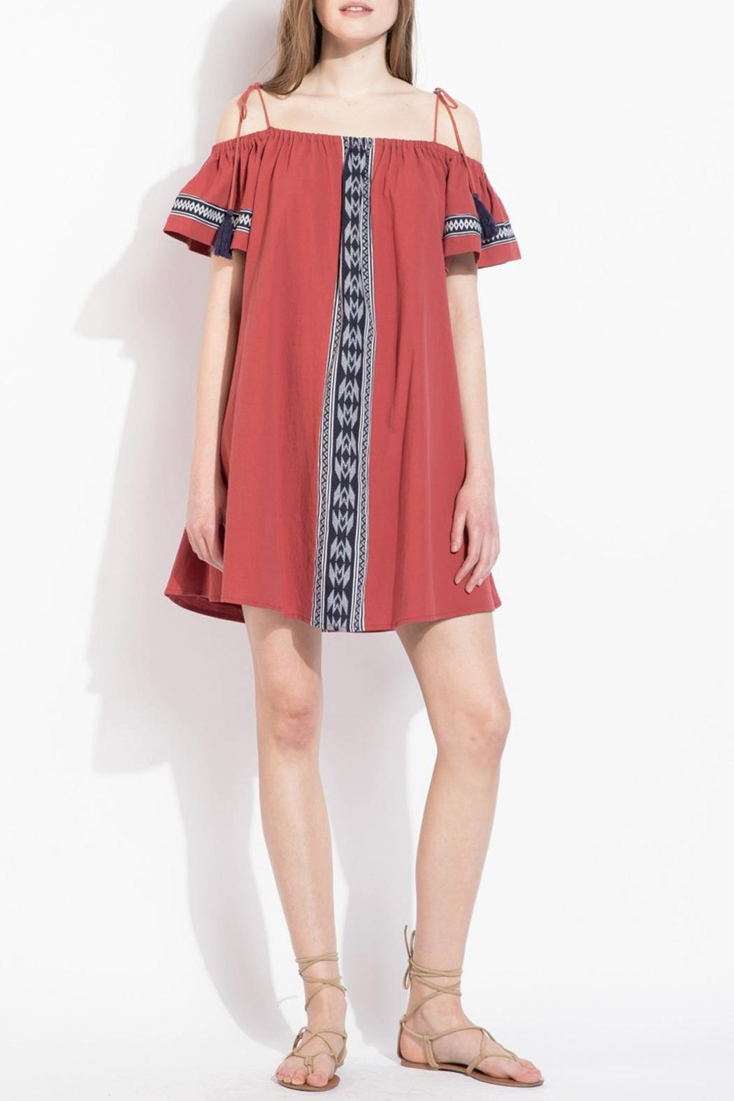 THML Clothing Red Off-Shoulder Dress - Main Image