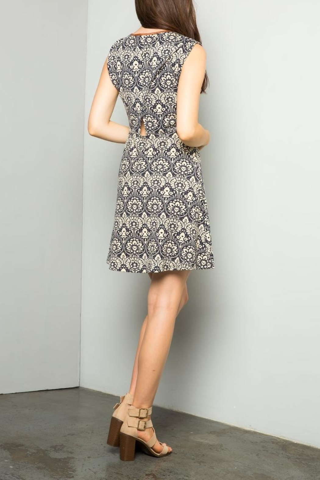 THML Clothing Printed A Line Dress - Back Cropped Image