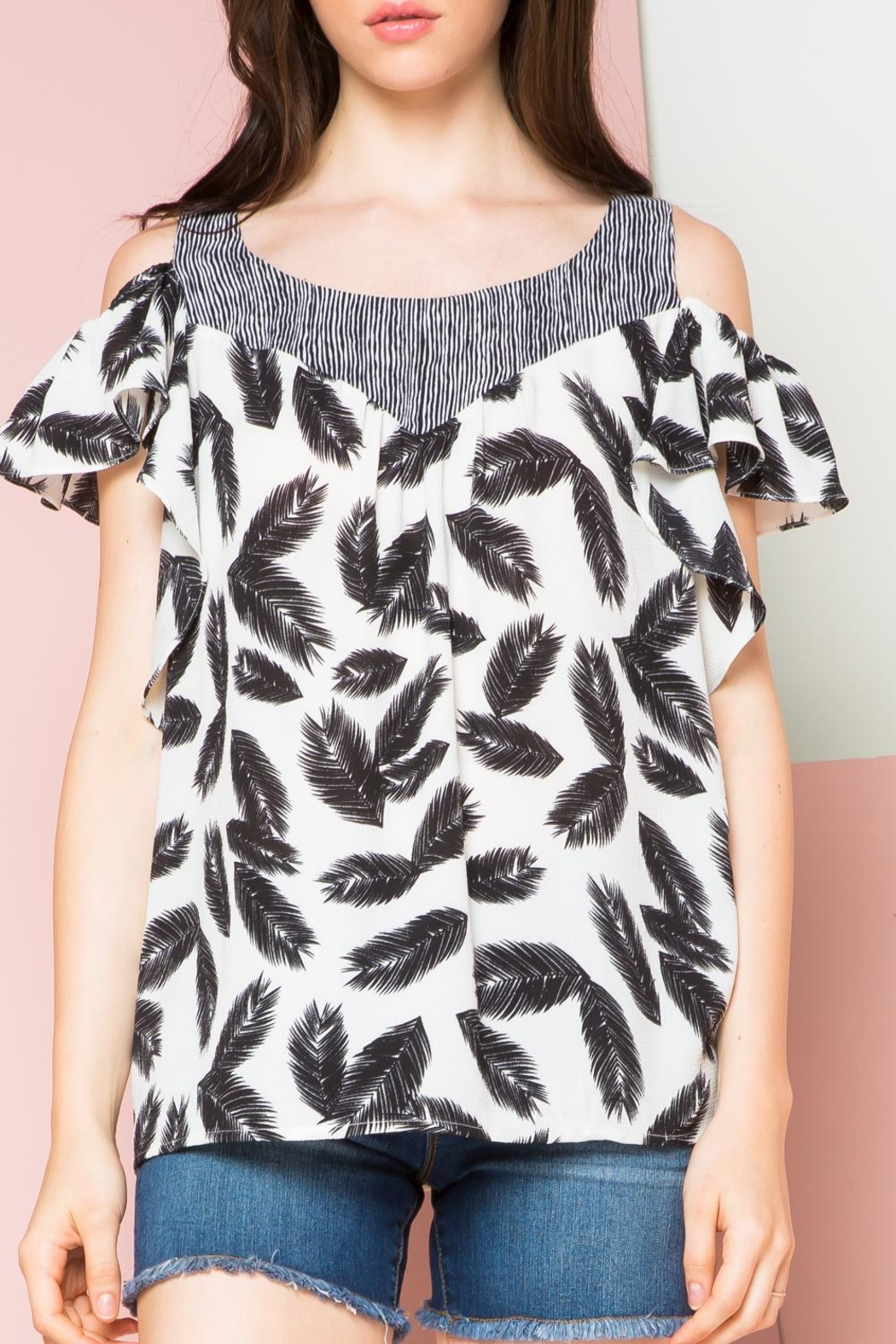 THML Clothing Ruffled Cold Shoulder Top - Main Image