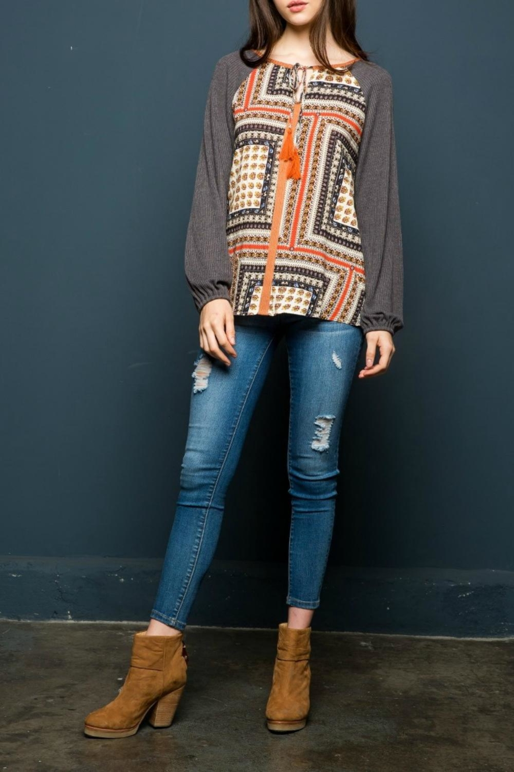 THML Clothing Scarf Printed Top - Front Cropped Image