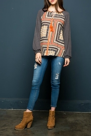 THML Clothing Scarf Printed Top - Front cropped