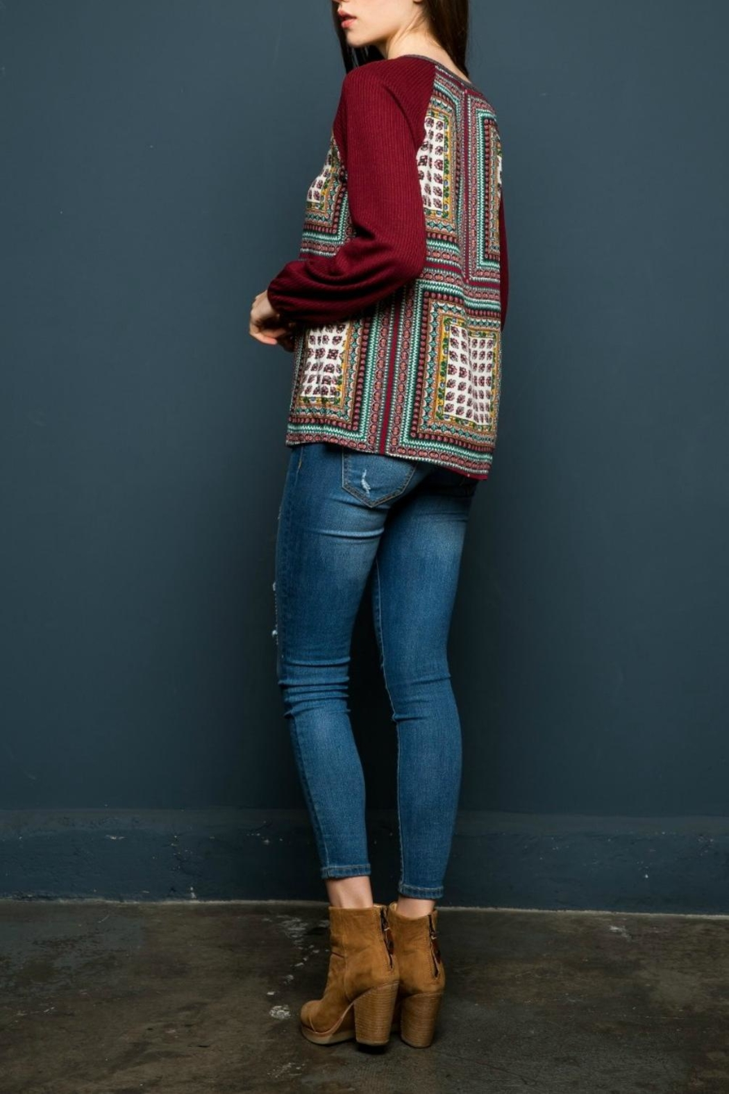 THML Clothing Scarf Printed Top - Front Full Image