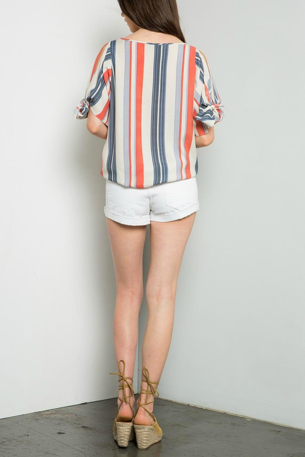 THML Clothing Striped Cold Shoulder Top - Side Cropped Image
