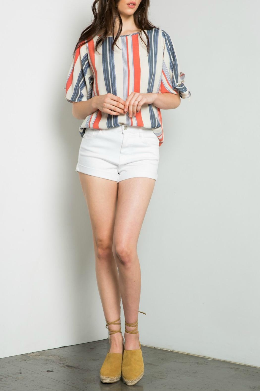 THML Clothing Striped Cold Shoulder Top - Main Image