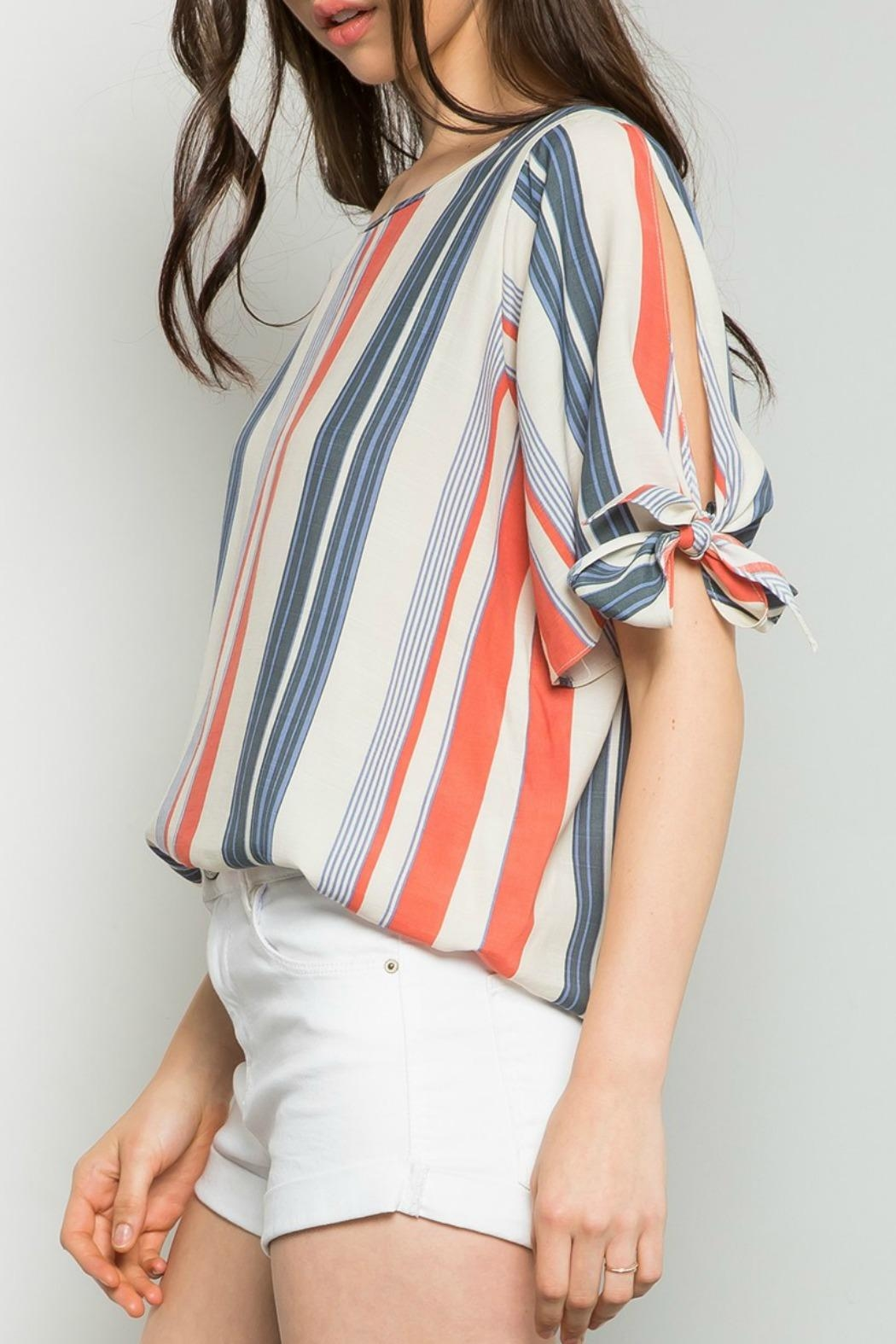 THML Clothing Striped Cold Shoulder Top - Front Full Image