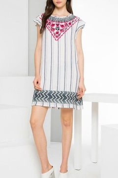 Shoptiques Product: Striped Embroidered Dress
