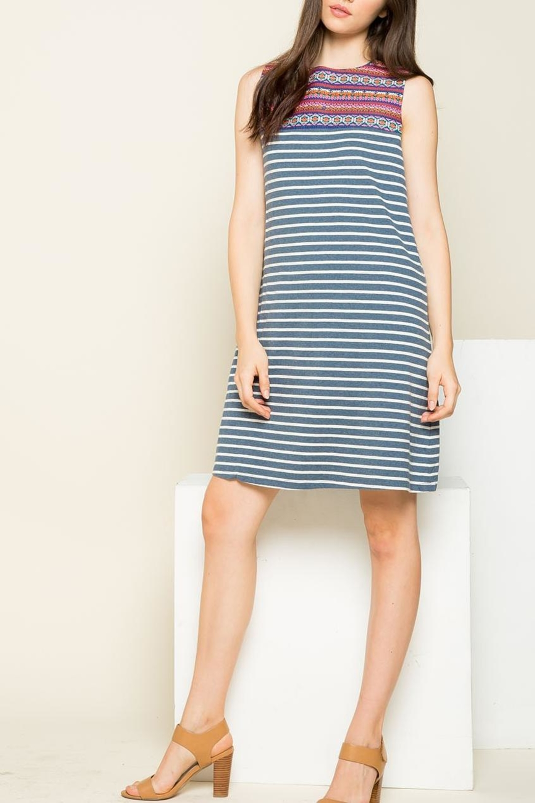 THML Clothing Striped Embroidered Dress - Back Cropped Image