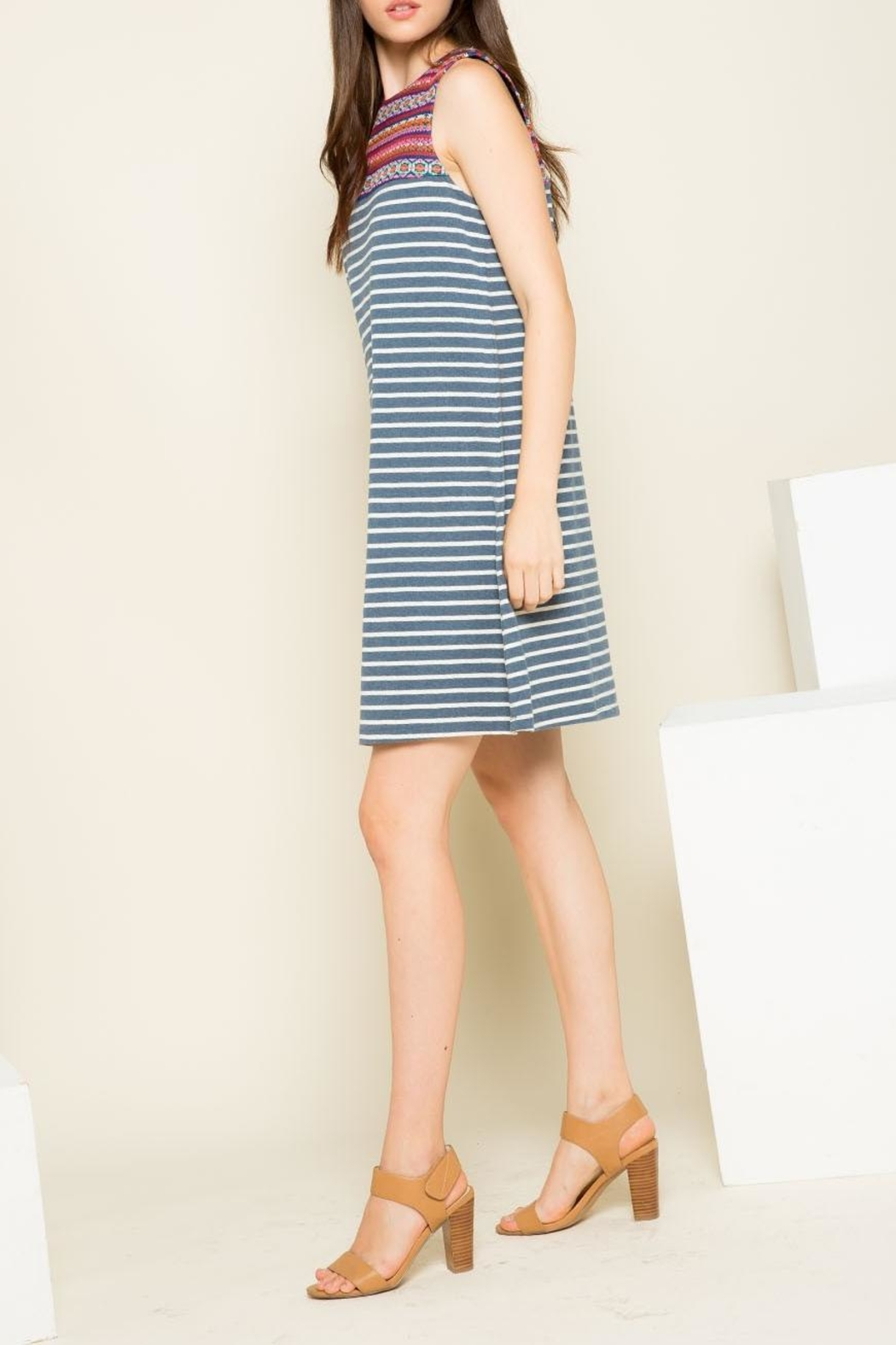 THML Clothing Striped Embroidered Dress - Front Full Image