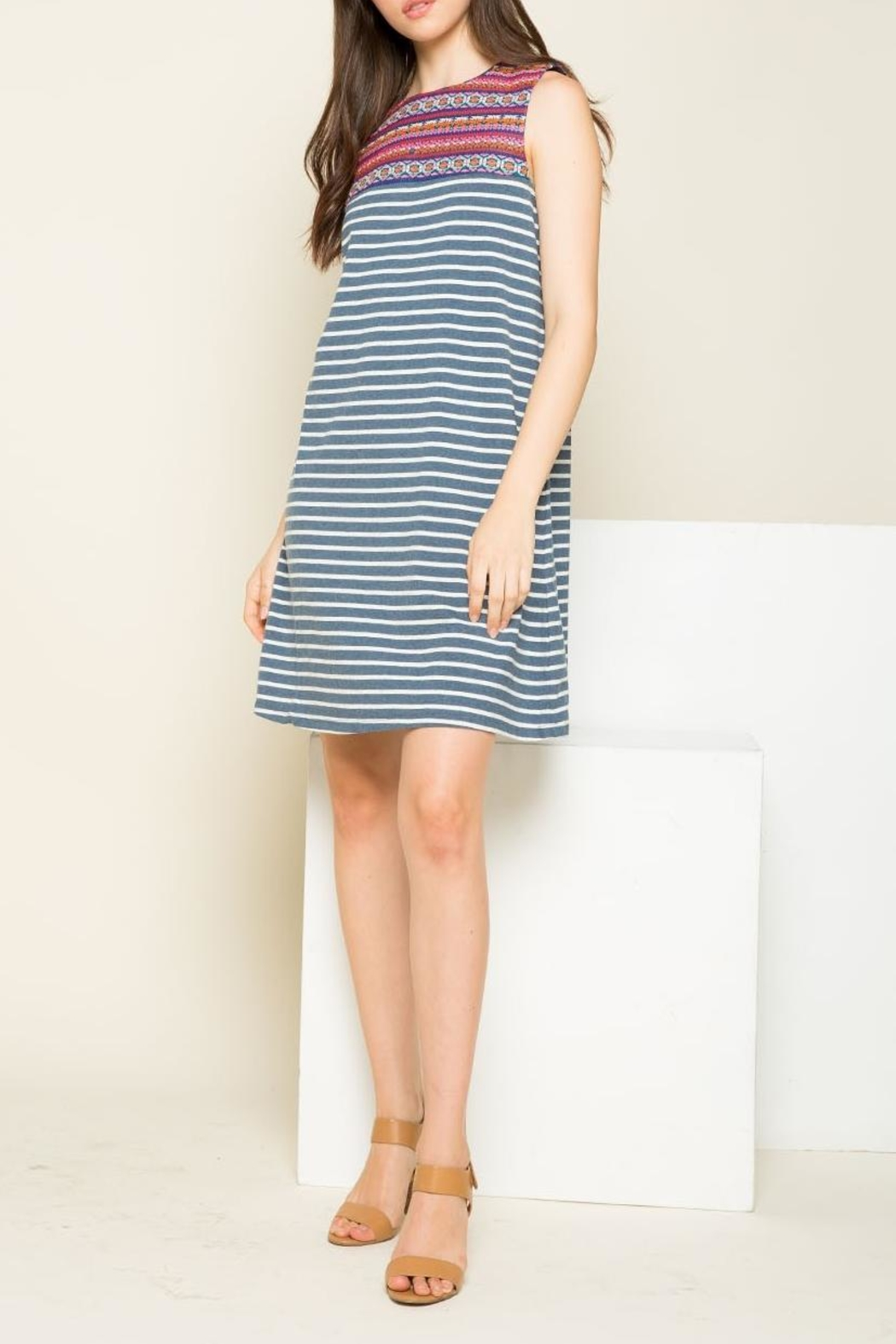 THML Clothing Striped Embroidered Dress - Main Image