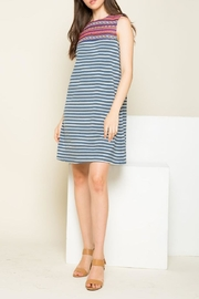 THML Clothing Striped Embroidered Dress - Product Mini Image