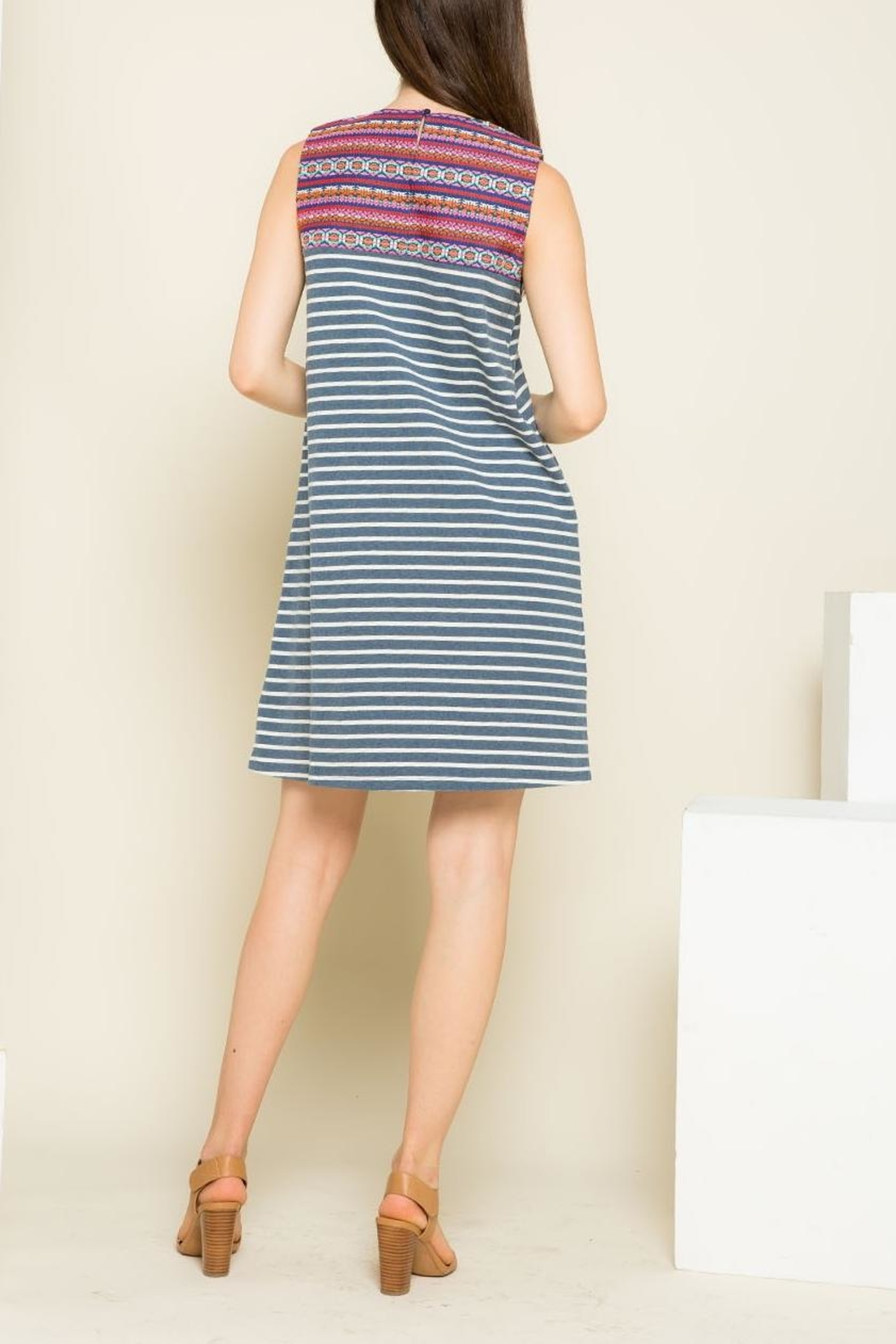 THML Clothing Striped Embroidered Dress - Side Cropped Image