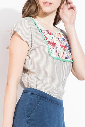 Shoptiques Product: Stripe Embroidered Top - main