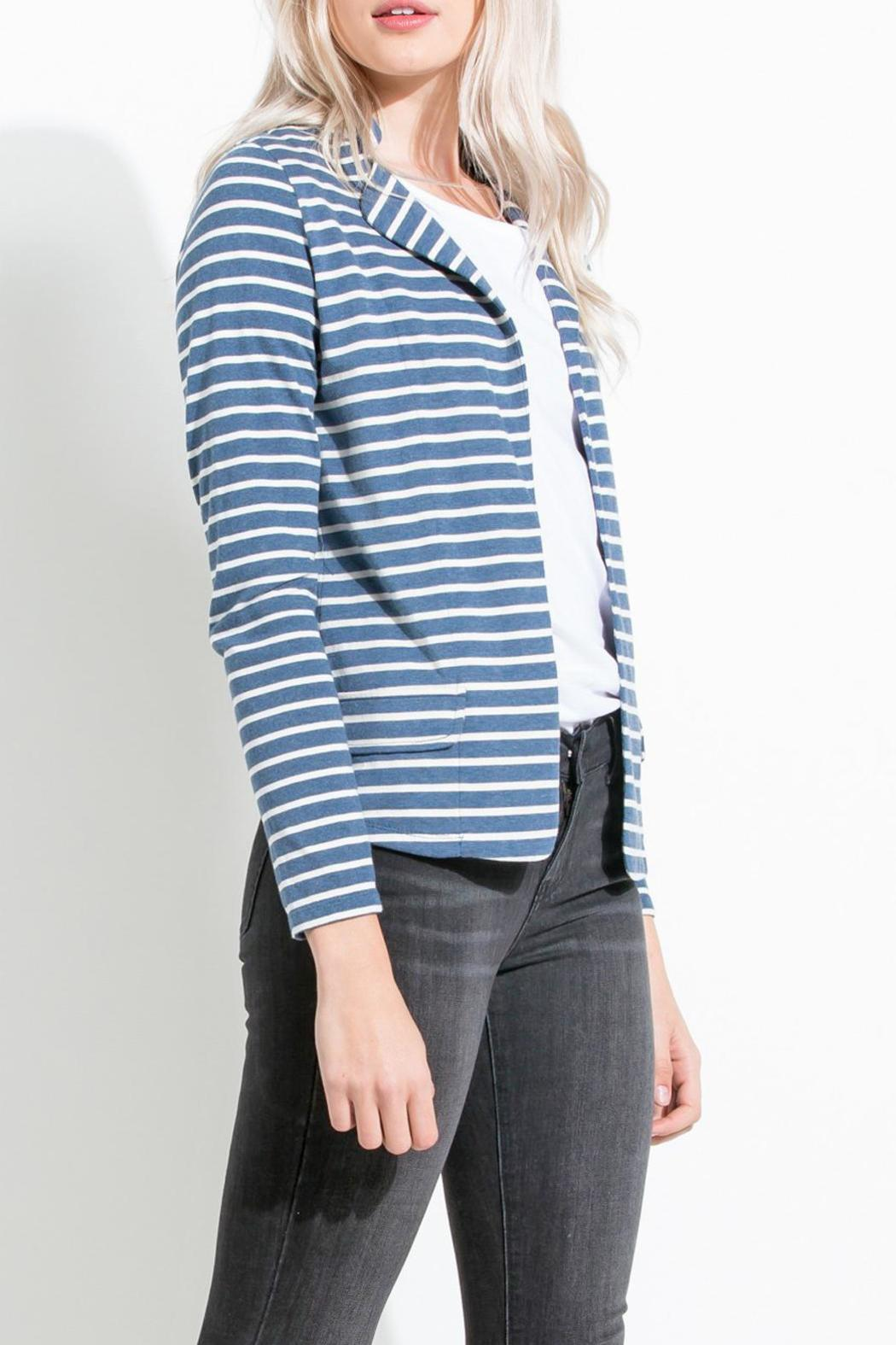 THML Clothing Striped Knit Blazer - Front Full Image