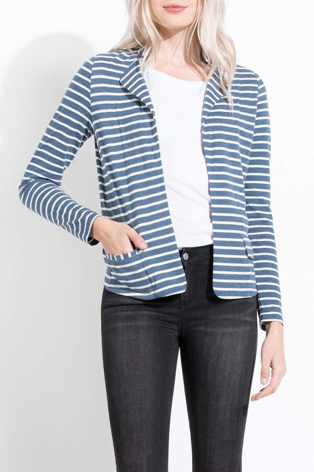 THML Clothing Striped Knit Blazer - Front Cropped Image