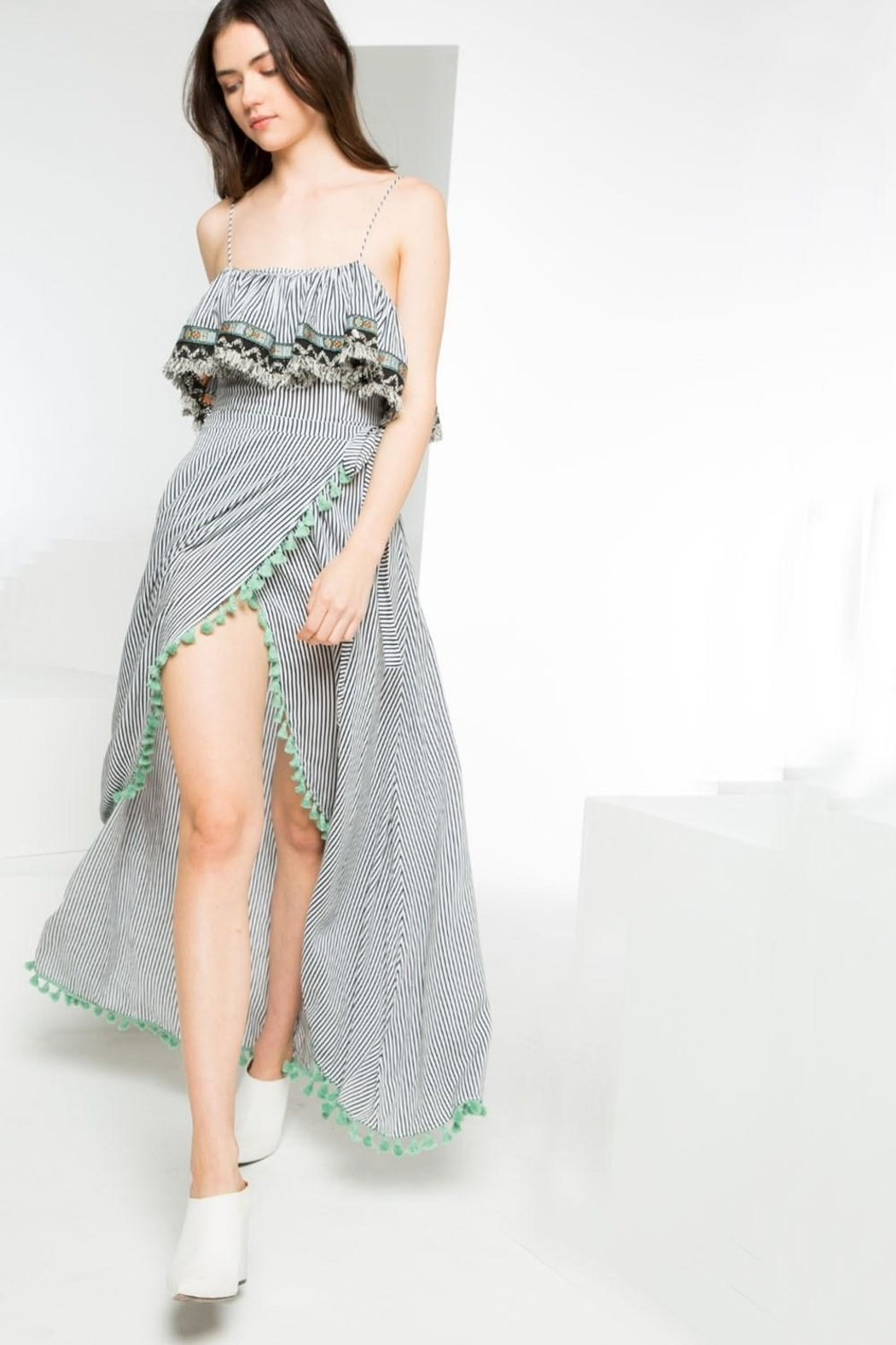 THML Clothing Striped Maxi Dress - Back Cropped Image