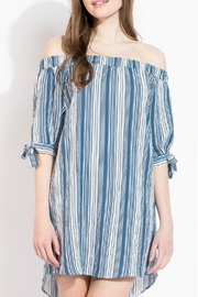 THML Clothing Striped Off Shoulder Dress - Front full body