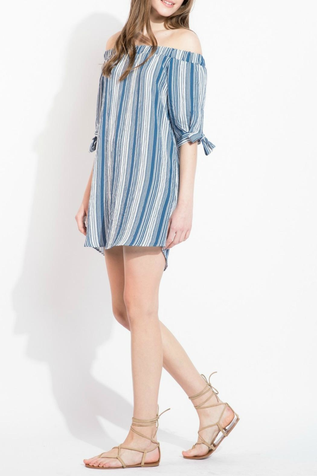 THML Clothing Striped Off Shoulder Dress - Side Cropped Image